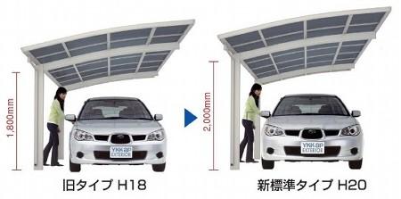 標準柱の高さを1.8mから2.0mに+20cm高く設定されているから乗降時の圧迫感を解消します。