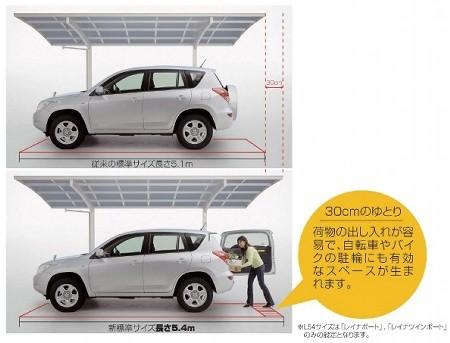 既存の車庫スペースを有効に使えるサイズ5.4mサイズで今までの標準サイズだった5.1mから+30cmのゆとりを実現します。