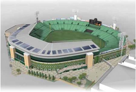 甲子園球場 太陽光発電システム 設置完成イメージ